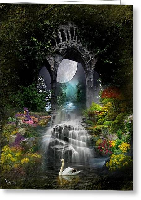 Swans... Greeting Cards - Doorway Of Beauty 2 Greeting Card by Ali Oppy