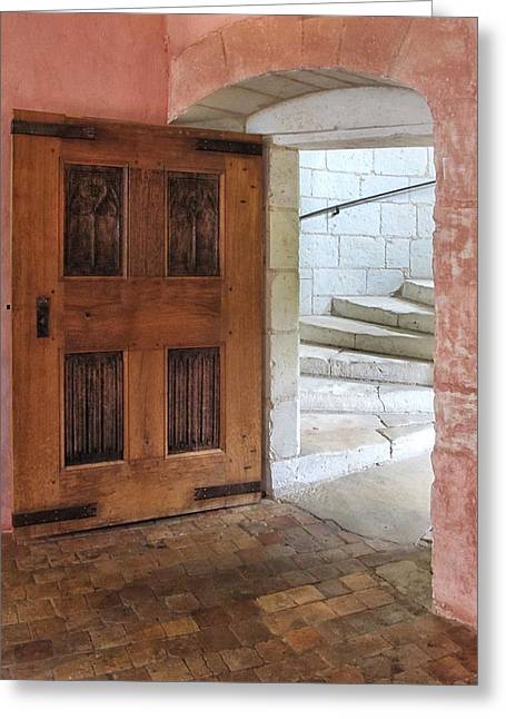 French Doors Greeting Cards - Doorway to Stairs at Chateau de Chaumont Greeting Card by Dave Mills