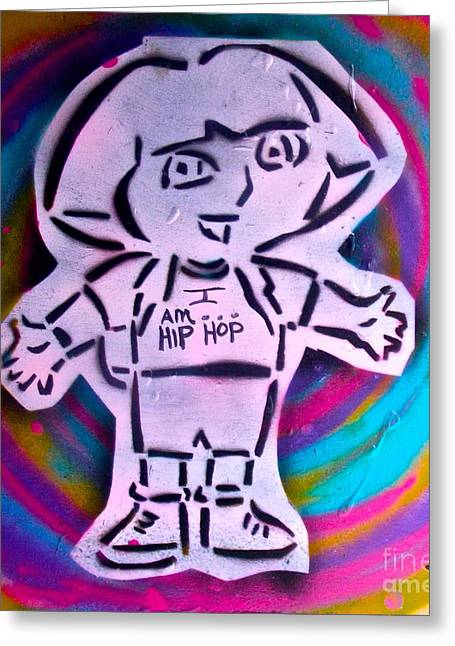 First Love Greeting Cards - Dora the Explorer Street Art Greeting Card by Tony B Conscious