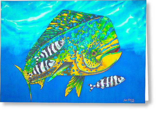 Print Tapestries - Textiles Greeting Cards - Dorado and Pilot Fish Greeting Card by Daniel Jean-Baptiste