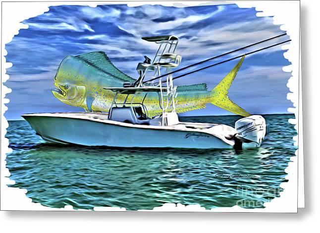 Dorado Yellowfin Greeting Card by Carey Chen