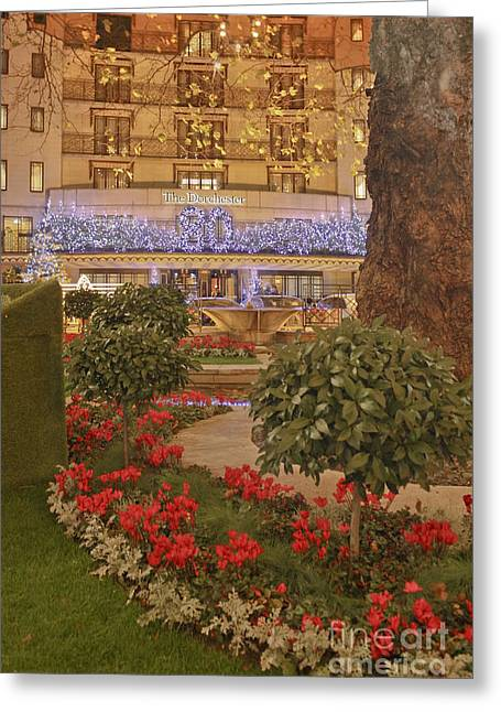 Dorchester Hotel At Christmas Greeting Card by Terri Waters