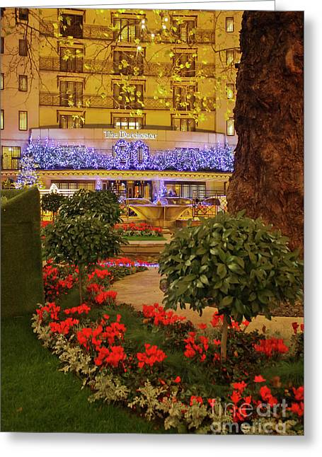 Dorchester Hotel London At Christmas Greeting Card by Terri Waters