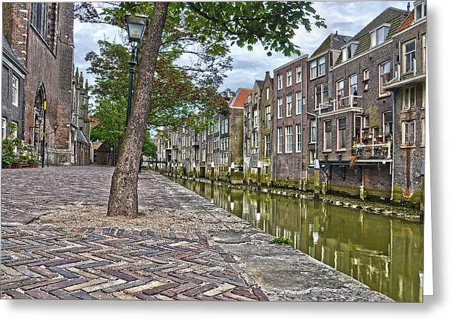 Streetlight Greeting Cards - Dordrecht Behind The Church Greeting Card by Frans Blok
