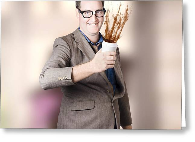 Dorky Office Guy Splashing Coffee. Caffeine Hit Greeting Card by Jorgo Photography - Wall Art Gallery