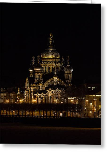 Winter Night Greeting Cards - Dormition of Mother of Gods cathedral Greeting Card by Konstantin Sakhin