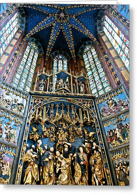 Polyptych Greeting Cards - Dormition of the Virgin Mary Greeting Card by Dorota Nowak