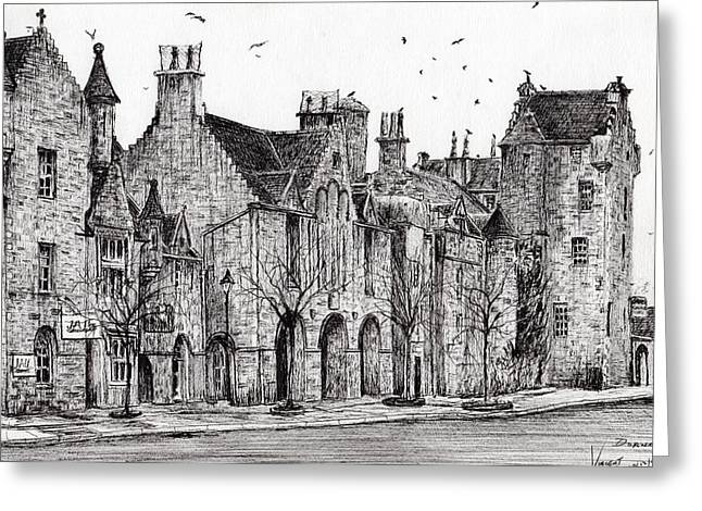 Historic Buildings Drawings Drawings Greeting Cards - Dornoch Greeting Card by Vincent Alexander Booth