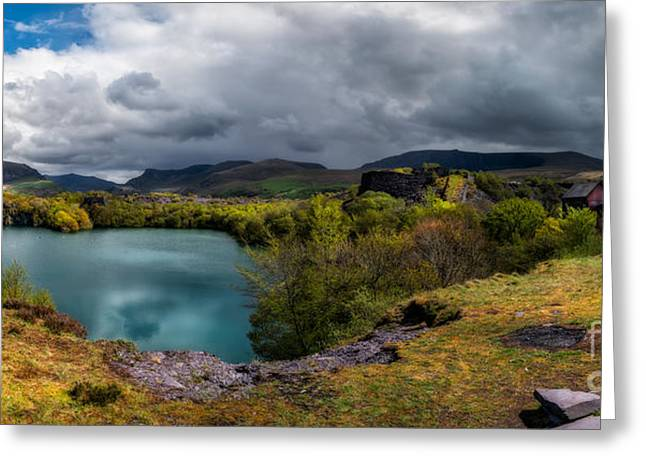 Slates Greeting Cards - Dorothea Quarry Panorama Greeting Card by Adrian Evans