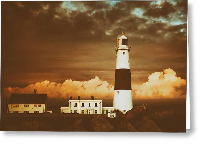 Stormy Weather Greeting Cards - Dorset Lighthouse Greeting Card by Anthony Poynton