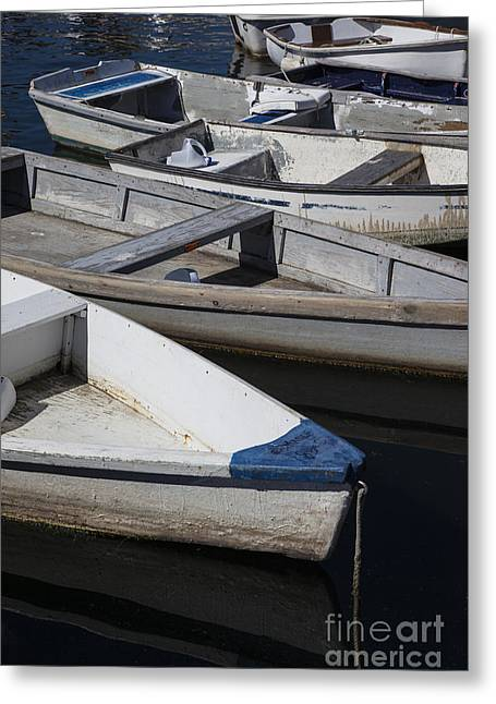 Docked Boats Greeting Cards - Dory Row Greeting Card by Timothy Johnson