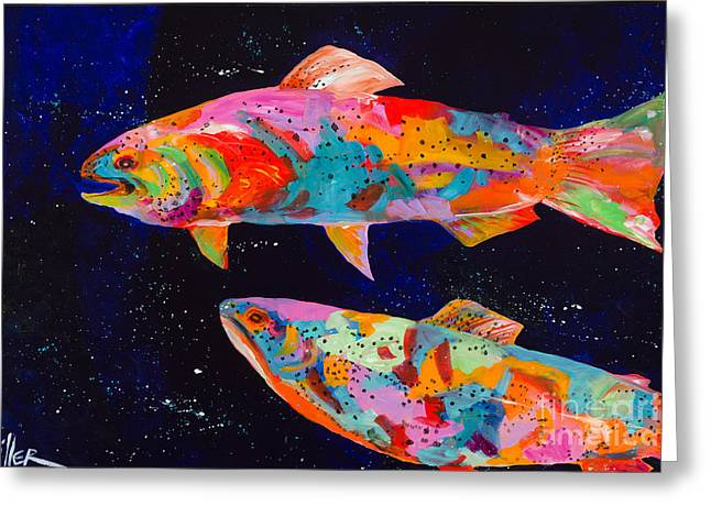Tracy Miller Greeting Cards - Dos Brown Trout Greeting Card by Tracy Miller