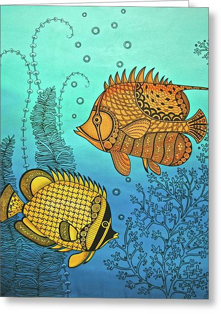 Tang Greeting Cards - Dos Fishies Greeting Card by Stephanie Troxell