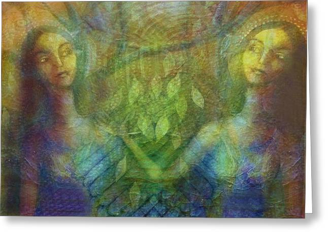 Angel Blues Greeting Cards - Dos Hermanas Greeting Card by Alice Mason