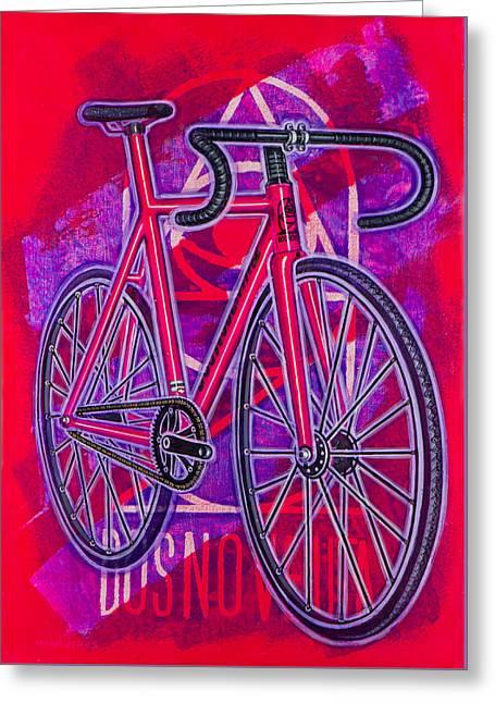 Dosnoventa Houston Flo Pink Greeting Card by Mark Howard Jones