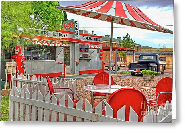 Bisbee Greeting Cards - Dots Diner in Bisbee Arizona Greeting Card by Charlene Mitchell