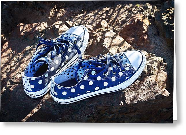 Sneaker Lace Greeting Cards - Dots Nice Greeting Card by Jon Exley