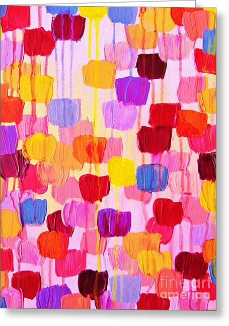 Wow Paintings Greeting Cards - Dotty in Pink Greeting Card by Julia Di Sano