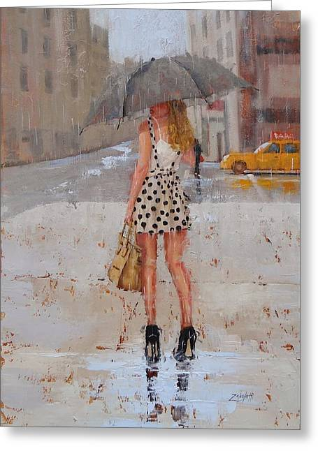 Puddle Greeting Cards - Dottie Greeting Card by Laura Lee Zanghetti