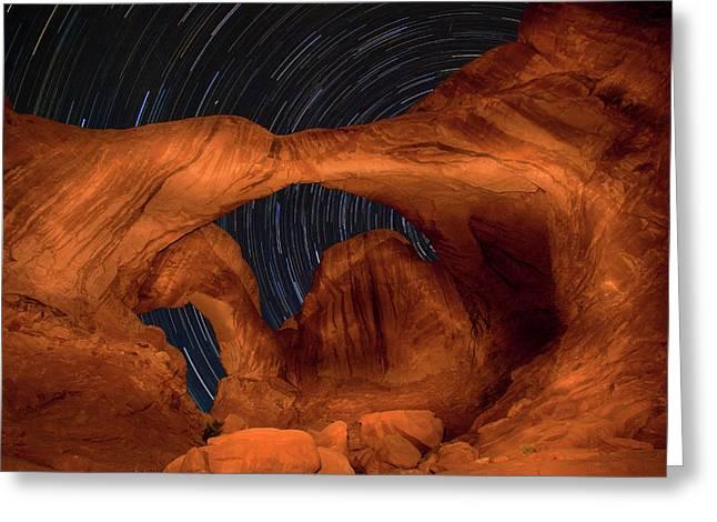 Double Arch Star Trails Greeting Card by Adam Romanowicz