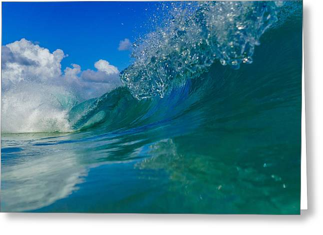 Surfing Art Greeting Cards - Double Barrel 1 Greeting Card by Chris and Wally Rivera