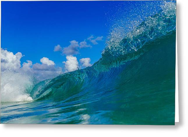 Surfing Art Greeting Cards - Double Barrel  Greeting Card by Chris and Wally Rivera