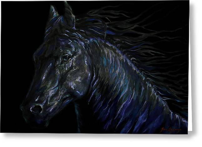 Unique Art Drawings Greeting Cards - Double Black Beauty Greeting Card by Jose Espinoza