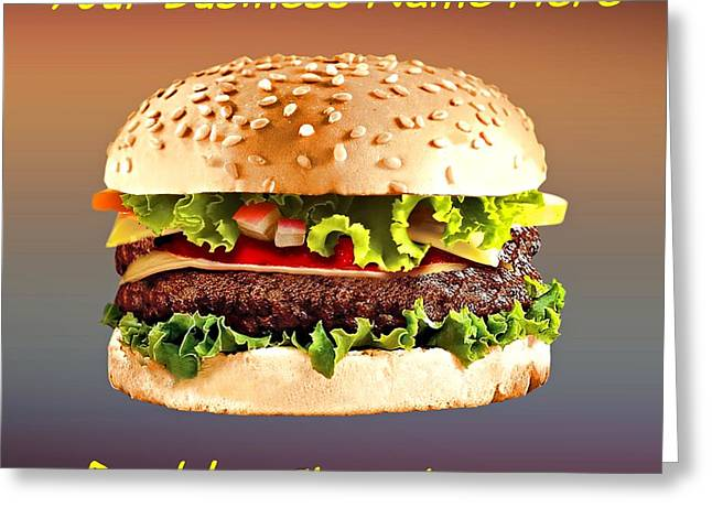 Cheeseburger Drawings Greeting Cards - Double Cheeseburger Customized  Greeting Card by Movie Poster Prints