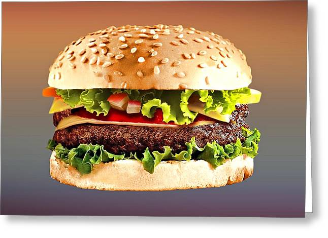 Cheeseburger Drawings Greeting Cards - Double Cheeseburger  Greeting Card by Movie Poster Prints