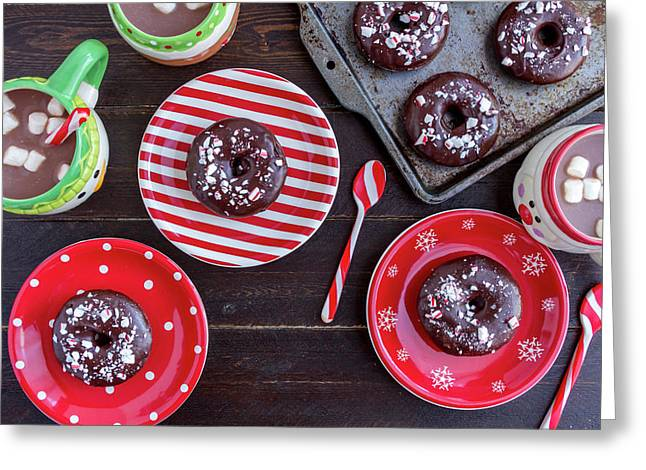 Double Chocolate Peppermint Donuts Greeting Card by Teri Virbickis