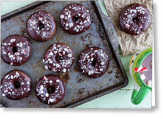 Double Chocolate Peppermint Iced Donuts Greeting Card by Teri Virbickis