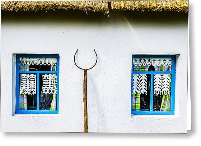 White Frame House Greeting Cards - Double Core System Greeting Card by Alexander Senin