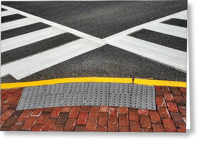 Crosswalk Greeting Cards - Double Crossed On The Street Corner Greeting Card by Gary Slawsky