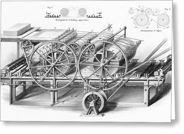 Mechanism Drawings Greeting Cards - Double Cylinder Printing Machine. From Greeting Card by Vintage Design Pics