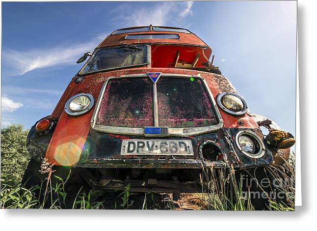 Primitive Desert Greeting Cards - Double Decker Bus Greeting Card by Svetlana Sewell