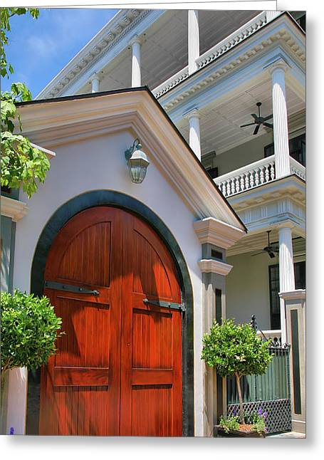 Old Door Print Greeting Cards - Double Door And Historic Home Greeting Card by Steven Ainsworth