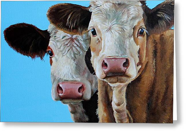 Moo Moo Greeting Cards - Double Dutch Greeting Card by Laura Carey