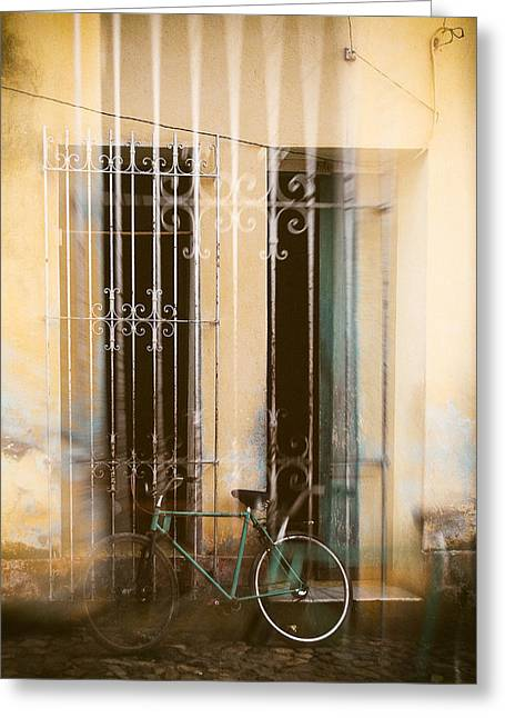 Double Bicycle Greeting Cards - Double exposure bicycle Cuba Greeting Card by Paul Bucknall
