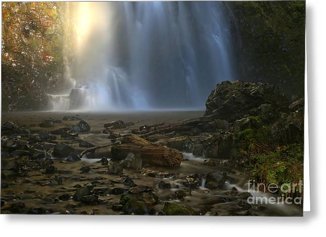 Double Falls Creek Greeting Card by Adam Jewell