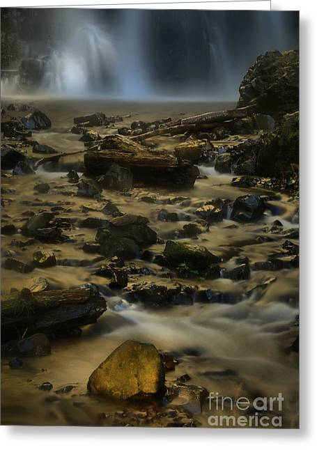 Double Falls Soft Light Greeting Card by Adam Jewell