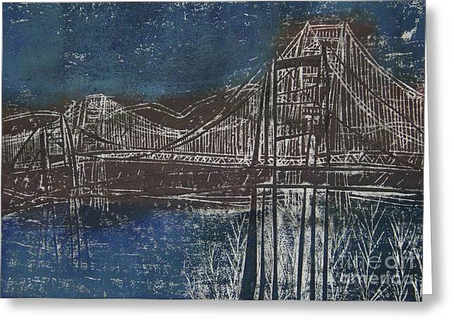 Famous Bridge Mixed Media Greeting Cards - Double Golden Gate Bridge Blue and Brown Dry Point And Woodcut Print Greeting Card by Marina McLain
