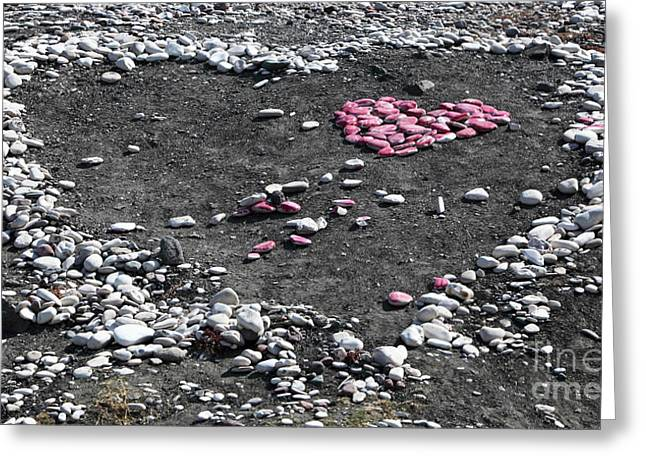 Double Heart on the Beach Greeting Card by John Rizzuto