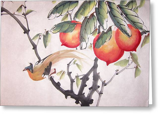 Bird On Tree Mixed Media Greeting Cards - Double longivity Greeting Card by Anita Lau