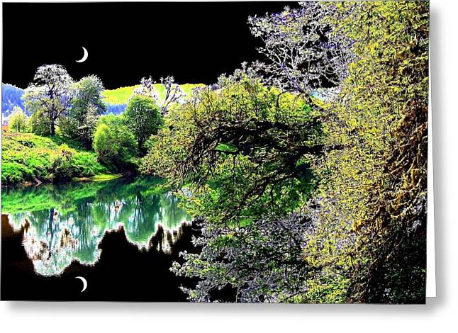 Umpqua River Greeting Cards - Double Moon Greeting Card by Will Borden