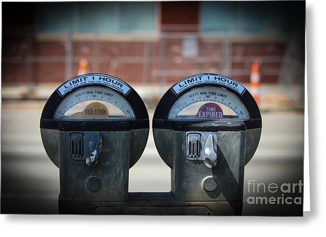 Coins Greeting Cards - Double Parking Meter Greeting Card by Laura Deerwester