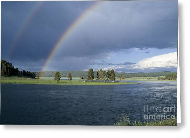 Yellowstone River Greeting Cards - Double Rainbow at Alum Creek Greeting Card by Sandra Bronstein