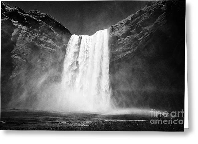 Double Rainbow At Skogafoss Waterfall In Iceland Greeting Card by Joe Fox