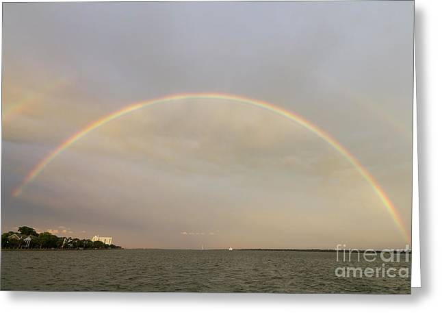 Double Rainbow Greeting Cards - Double Rainbow over Charleston Harbor Greeting Card by Dustin K Ryan