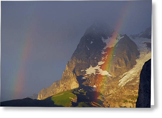 Murren Greeting Cards - Double Rainbow Over Eiger Mountain Greeting Card by Anne Keiser