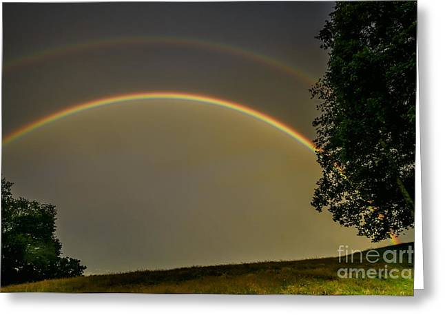 Double Rainbow Greeting Cards - Double Rainbow over Pasture Field Greeting Card by Thomas R Fletcher